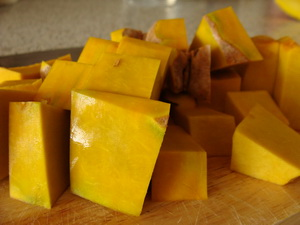 Cut pumpkin pieces, a Thai food ingredient.