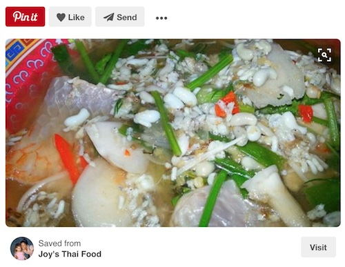 Joy's Thai Food on Pinterest - showing bowl full of ant egg soup - Isaan style.