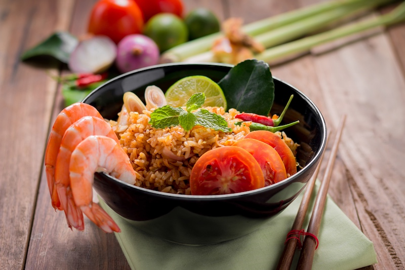 Thai shrimp plate with fresh vegetables.