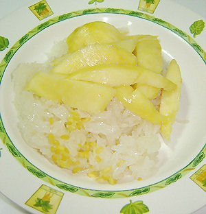 Kao Niao Ma Muang (Sticky rice with Ripe Mangoes) - a favorite Thai dessert.