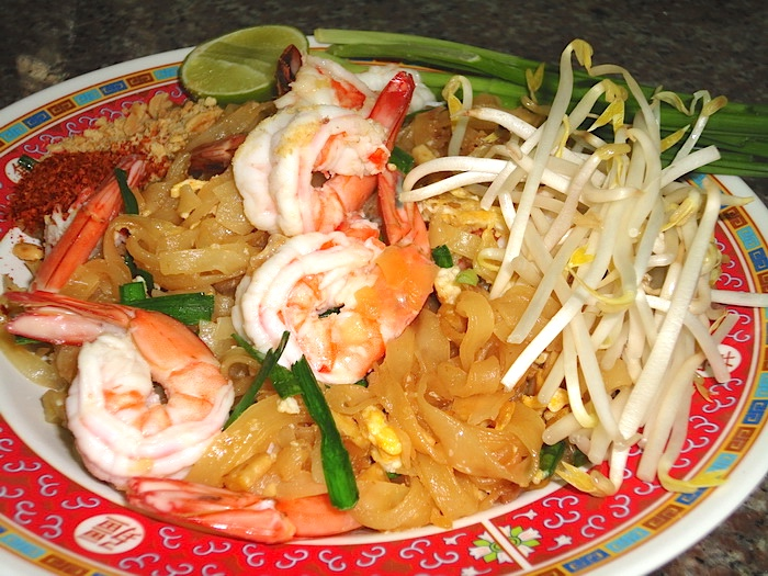 Pad Thai with shrimp at Joy's Thai Food - better than eating padthai at a Thai restaurant.