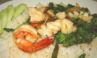 Spicy seafood Stir Fry - Pad Cha Talay.