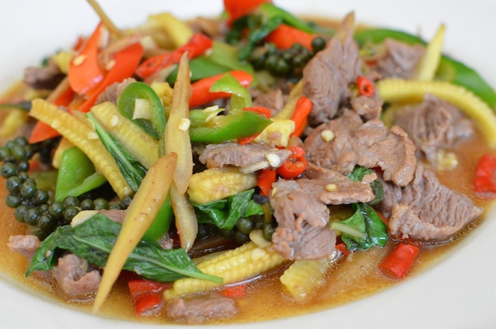 Thai food meal - pork vegetable stir-fry.
