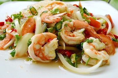 Thai yum woon sen with big shrimp is a spicy Thai food favorite.