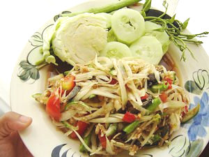 Som Tam (Som Tum) spicy papaya salad.